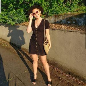 Asos Black Button Short Sleeve Sun Dress